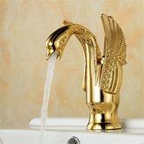 Европейский Swan Античный Ванная комната Смеситель для бассейна с горячей и холодной водой Смеситель с одной ручкой Медь Крепление