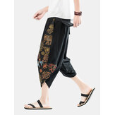 Mens Ethnic Style Print Casual Loose Light Drawstring Waist Harem Pants