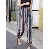 Plus Size Cotton Women Colorful Stripe Elastic Waist Cotton Smooth Pajama Pants