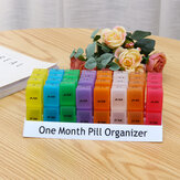 Monthly Pill Organizer Box Tablet Holder Pill Container Organizer Case Travel Daily Pill Storage Box