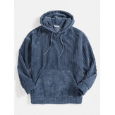 Mens Corduroy enfärgad Kangaroo Pocket Drop Shoulder Hoodies