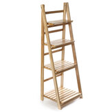 3/4 Tiers Ladder Plants Shelf Folding Flower Pot Stand Wood Bookshelf Storage Rack Home Office Garden Decor