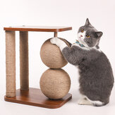 Cat Toy Wooden Bottom Plate Circular Grinding Claw Ball Cat Toy Climbing Frame Cat Toy With Sisal Ball