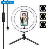 Portátil de 10,2 pulgadas sin escalonamientos ajustable LED Anillo de luz completa trípode Soporte para selfies en vivo con enchufe USB para YouTube Tiktok VK Vlog Maquillaje
