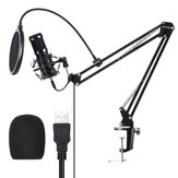 BlitzWolf® BW-CM2 Microphone à condensateur Microphone USB Kit de système audio dynamique Support en porte-à-faux Ensemble de filet anti-éclaboussures Enregistrement sonore Microphone vocal