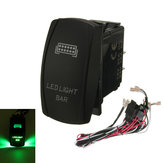 GREEN LED LIGHT BAR ON/OFF LASER ROCKER SWITCH & RELAY FUSE WIRING HARNESS LOOM