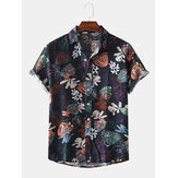 Men Color Block Floral Print Turn Down Collar Beach Holiday Short Sleeve Shirts