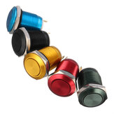 Excellway® 5A/16V 12mm 2Pin Button Switch Stainless Steel Momentary Push Button Switch Flat Top 5 Color