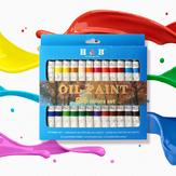 H&B HB-OP24B Professional 24-Color 12ML Propylene Pigment Hand-Painted Set DIY Watercolor Paint Set for Art Painter
