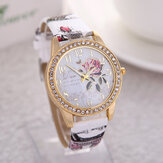 Vintage Idyllic Peony Flower Pattern Leather Strap Women Quartz Watch