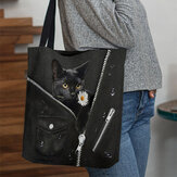 Donna Canvas Cute Tridimensionale 3D Black Cat With Flower Modello Spalla Borsa Borsa Tote