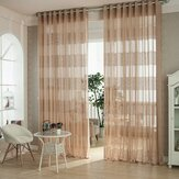Cortinas transparentes em estilo europeu de jacquard respirável de 2 painéis Voile Sala de estar tela