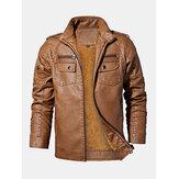 Veste en cuir PU épaissie pour homme vintage lavé à plusieurs poches