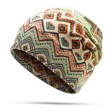 النساء محبوك الطباعة قبعة قبعات استخدام المزدوج الدراجات قبعة بونيه ويندبروف وشاح