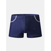 Mens Mesh Breathable Thin Antibacterial Boyshorts Home Boxers Briefs With Pockets