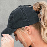 Women Made-old Breaking Hole Solid Color Fashion Hollow Out Ripped Washed Denim Baseball Cap