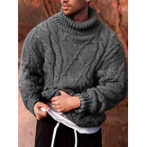 Mens Rib-Knit High Neck Solid Long Sleeve Casual Pullover Sweaters