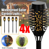 4PCS Waterproof Solar Powered LED Landscape Lamp Flickering Lawn Light for Outdoor Garden Path