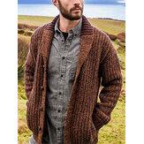 Pull cardigan à manches longues tricoté patchwork pour homme