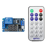 12V DC Infrared Remote Control Full-function Precision Delay Cycle Timing Relay Module with LED Digital Display with Remote Controller
