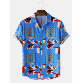 Mens Abstract Square Totem Print Kurzarm Turn Down Collar Casual Shirts