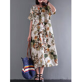 Wanita Vintage Retro Lengan Pendek Cotton Floral Maxi Dress