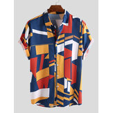 Herremode Colorful Kontrastfarveprint Loose Casual Shirts