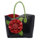 Women PU Leather Flower Decoration Elegant Handbag Sling Bag National Style Tote Bag