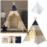 120 x 120 x 160cm Children Game Tent Foldable White and Blue Ribbon Pattern Teepee