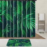 Tropik Bitkiler Su Geçirmez Duş Perdesi Kumaş Hooks Ile Halka Polyester Banyo Kilim Mat