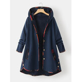 Women Jacquard Patchwork Button Detail Long Sleeve Hooded Plus Size Coat