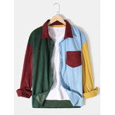 Mens Corduroy Colorful Patchwork Button Up Long Sleeve Casual Shirts