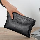 Hommes Faux cuir grande capacité Casual Business 6,5 pouces téléphone sac d'embrayage sac à main avec ficelle de taille