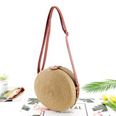 Women Ladies Rattan Straw Beach Shoulder Bag Round Woven Summer Holiday Tote Handbag Outdoor Travel