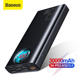 Baseus 30000mAh Power Bank 5 saídas e 3 entradas 18 W USB-C PD3.0 QC3.0 Carregamento rápido LED Display digital externo Bateria para iPhone 11 SE 2020 para Huawei
