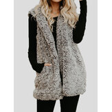 Women Sleeveless Pure Color Hooded Fluffy Fur Outwear Coats