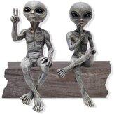 Estátua de resina OVNI Extraterrestre Jardim estátuas de alienígenas Conjunto de estatueta para mesa de escritório