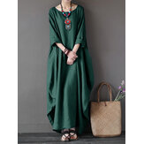 L-5XL Casual Women Loose Solid Color Baggy 3/4 Sleeve Maxi Dress(No Pocket)