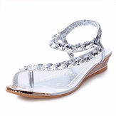 Frauen Sommer Wedge Sandalen Mode Low Heel Casual Strass Slip On Sandalen Schuhe