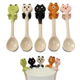 Leuke Cartoon Animal Ceramic Hanging Koffie Scoop Milk Thee Soeplepel Eetgerei Decor