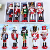 5Pcs 12CM Wooden Nutcracker Soldier Handcraft Walnut Puppet Christmas Decorations Gift