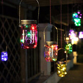 Luz de Natal Solar Power Hanging Glass Jar Lamp 8 LED Beads Garden Courtyard Landscape Decor Light