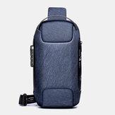 الرجال أكسفورد كلمة المرور USB شحن مكافحة السرقة متعدد الطبقات ضد للماء حقيبة كروس حقيبة الصدر حقيبة حبال