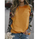 Women Floral Patchwork Raglan Sleeve Casual Relaxed Fit Round Neck Sweatshirt