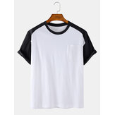 Mens Patchwork Cotton Crew Neck Loose Casual Short Sleeve T-Shirts With Pocket