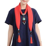Ethnic Women Necklace Multifunction Cotton Scarf Bohemian Turquoise Bead Tassel Clothing Accessories