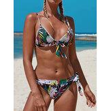 Mulheres Multicolor Pritnt Triângulo Bow-Knot Top String Hot Swimwear Bikini