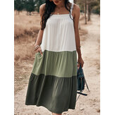 Contrast Color Patchwork Sleeveless Pocket Casual Midi Dress For Women