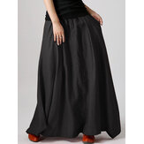 Women Big Swing Irregular Pleated Loose Solid Color Skirts With Pocket