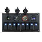 12V 24V 8 Gang Blue LED Rocker Switch Panel Car Marine Boat Dual USB Waterproof